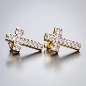Two Tone Gold Cz Hip Hop Cross Stud Earrings